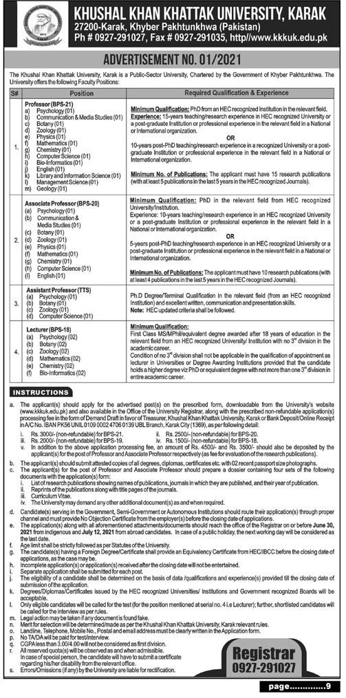 www.kkkuk.edu.pk Jobs 2021 - Khushal Khan Khattak University Jobs 2021 Latest Vacancies