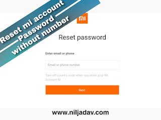 how to reset mi account password