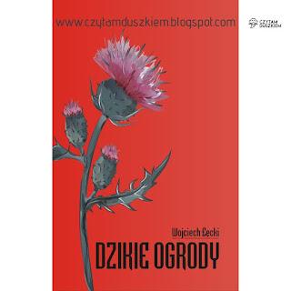 Czerwona okłada książki z dużym kwitnącym ostem, na dote tyti u nazwisko autora wydrukowane czarnymi literami
