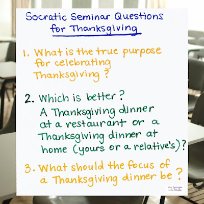 These Socratic Seminar questions get students talking and looking for evidence before they create a piece of writing!