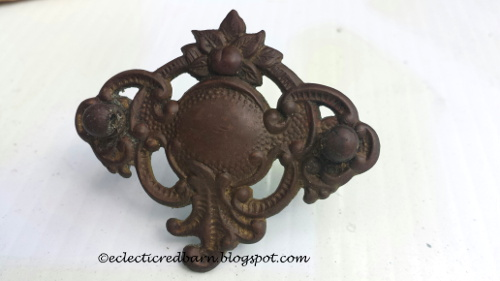 Old sewing drawer handle @ Eclectic Red Barn