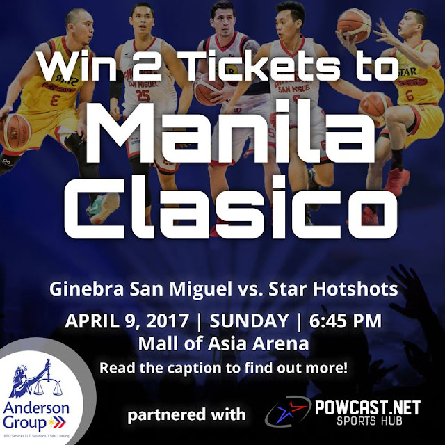 Win 2 Tickets to Manila Clasico: Ginebra vs Star on April 9, 2017, MOA