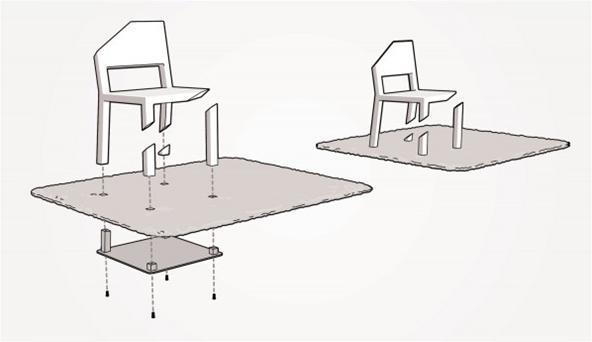 Tek bacaklı sandalyenin nasıl yapıldığını gösteren çizim