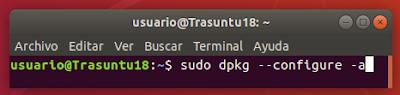 sudo dpkg --configure -a