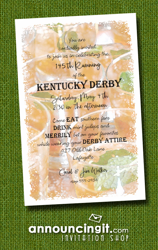Tray of Juleps Kentucky Derby Invitations from Announcingit.com