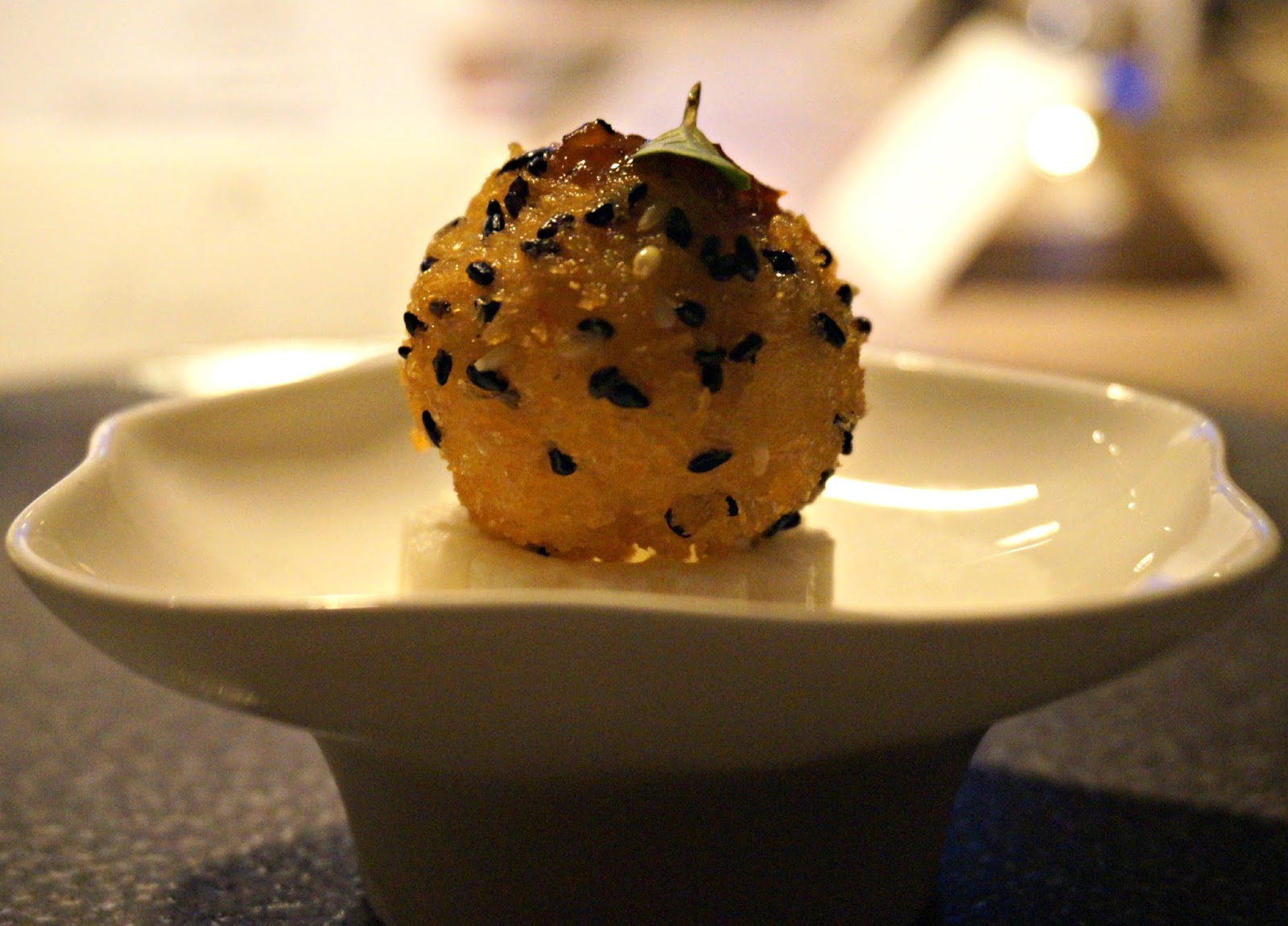 deep-fried prawn and fois gras croquette with black truffle sauce