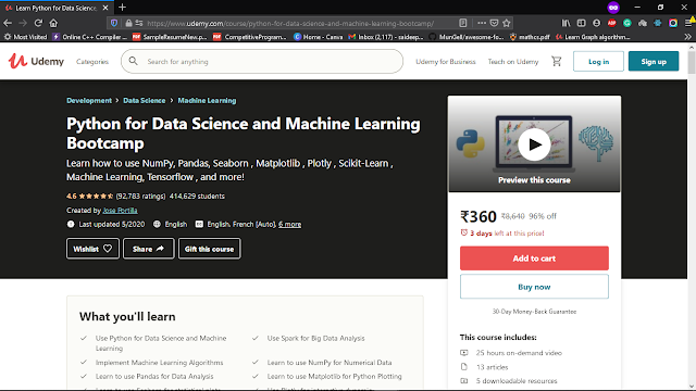 Udemy Python for Data Science and Machine Learning Bootcamp