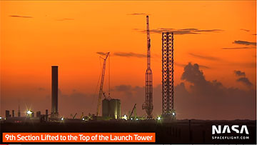 9th Section lifted to top of launch tower (Source: NASASpaceflight.com)