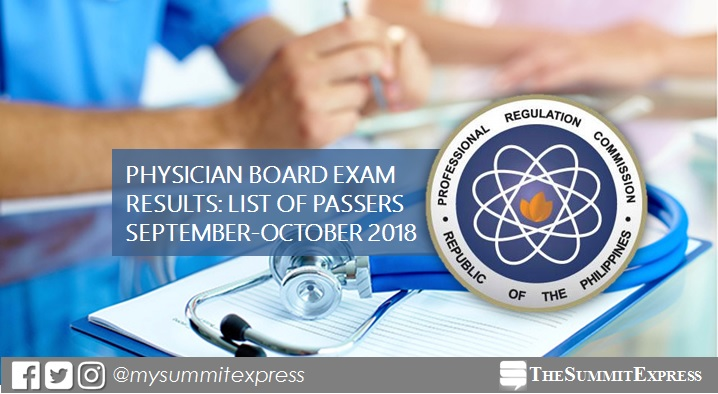 PLE RESULTS: September - October 2018 Physician board exam list of passers, top 10