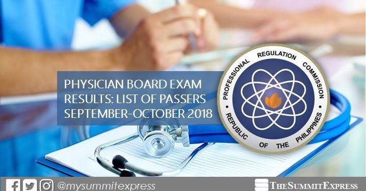 PLE RESULT: September - October 2018 Physician board exam ...
