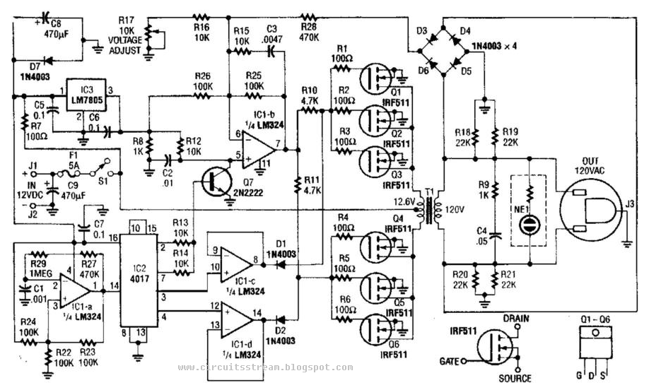 Value able 40W 120Vac Inverter Circuit Diagram | Electronic Circuit ...