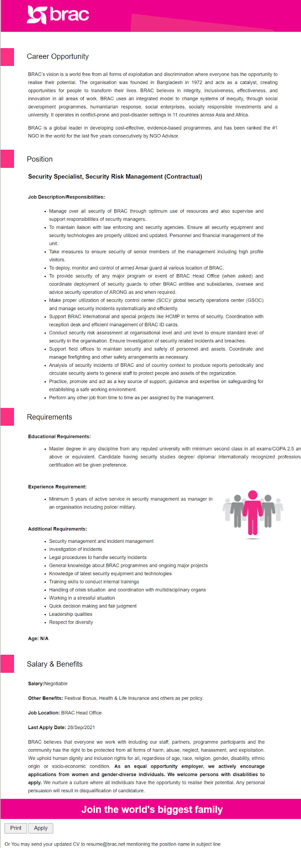 BRAC NGO Job Circular image 2021 Apply