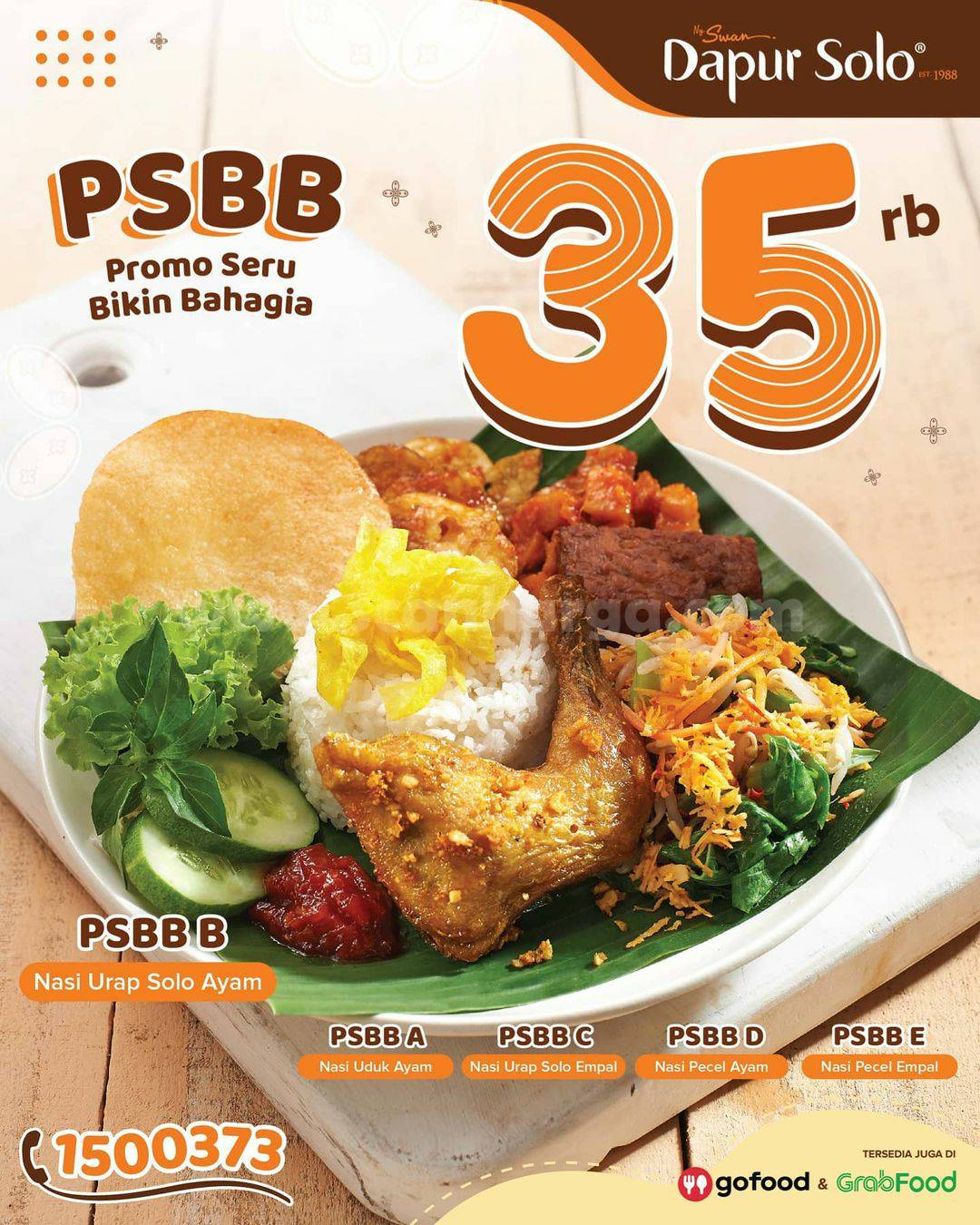 Promo DAPUR SOLO Paket PSBB Harga cuma Rp 35 Ribu melalui GrabFood & GoFood
