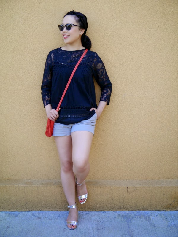 Black peasant top and a little red bag