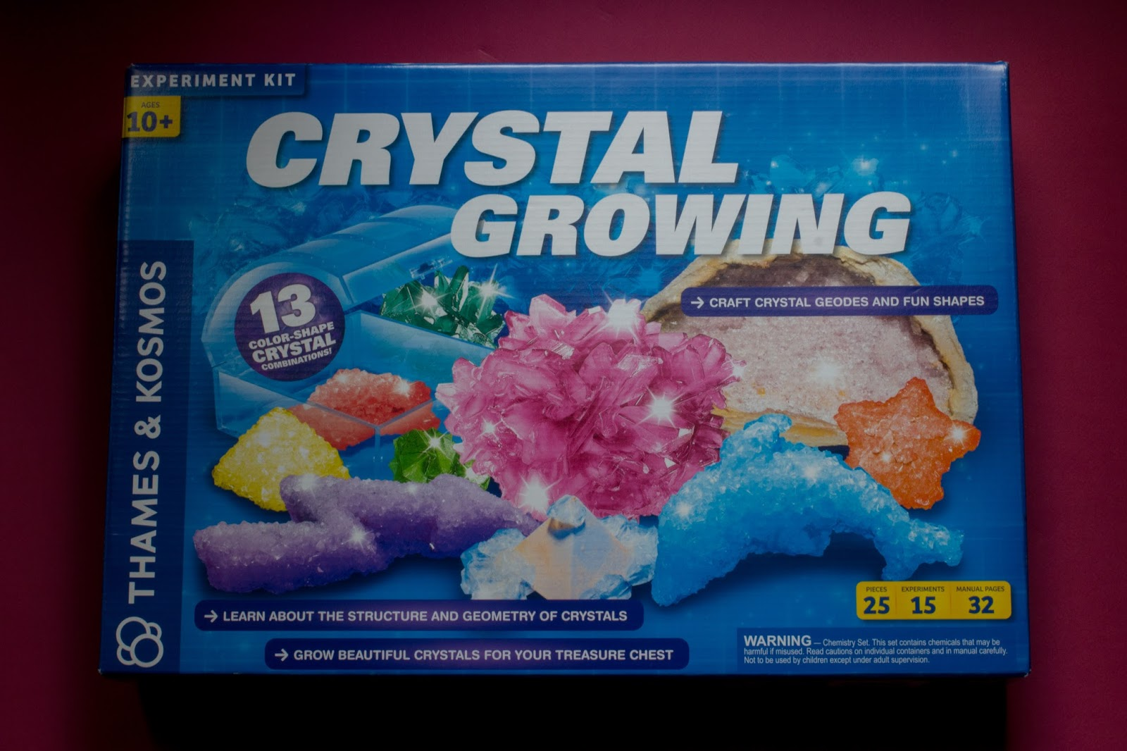 The packaging of a crystal growing kit recommended for age 10 plus gifted from PrezzyBox