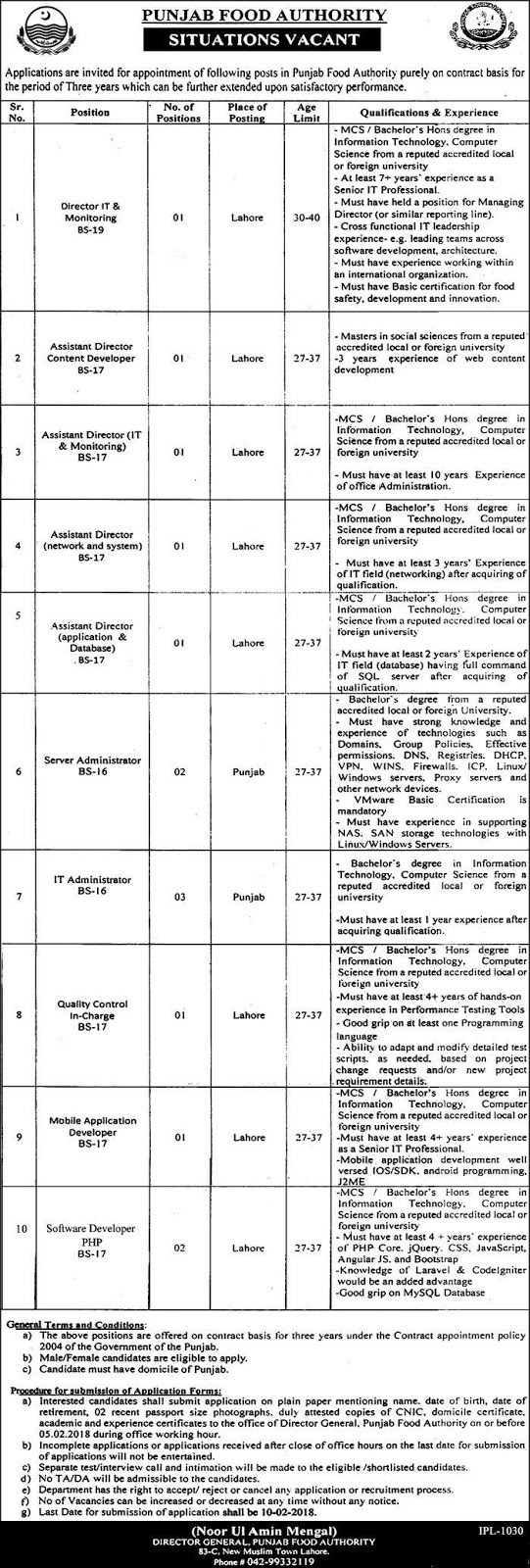 Jobs In Punjab Food Authority, Lahore January 2018