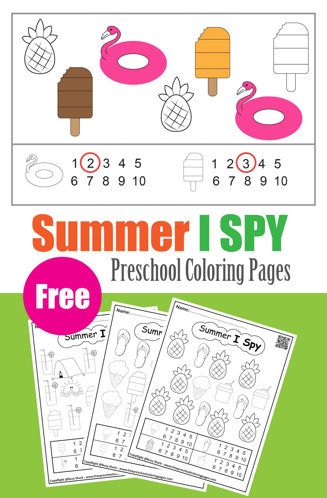 Summer I Spy Numbers Coloring Pages