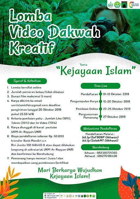 Ada Lomba Cerpen, LKTI Online, Puisi Sampai Desain Baju Muslimah Di Universitas Riau Islamic Fair 2019