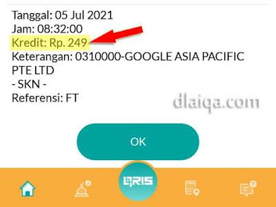 nominal transfer dari Google