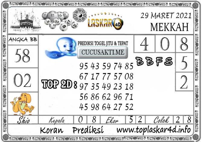 Prediksi Togel MEKKAH LASKAR4D 29 MARET 2021