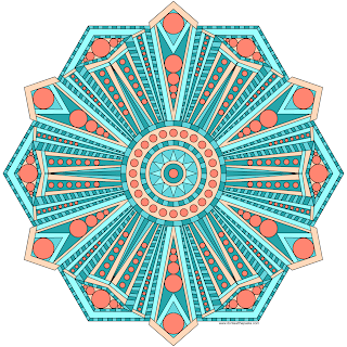 Geometric mandala with a blank version for coloring