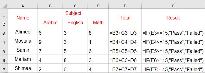 اظهار المعادلات في برنامج Excel