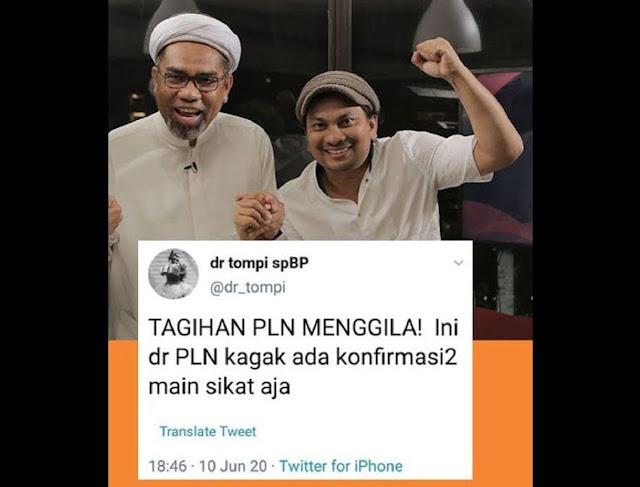 Tompi Mengeluh Tagihan Listrik PLN, Warganet: Jangan Nyinyir, Nikmati Aja, I Love Jokowi