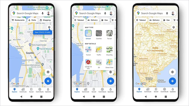 Карты Google показывают вспышки Covid-19