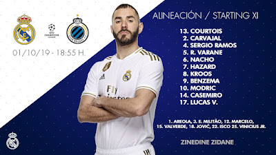Real Madrid starting team vs BRUGGE in Champions League