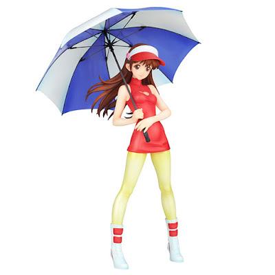 Asuka esposta con l'ombrello para sole e senza giacca