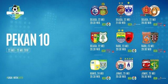 Jadwal Lengkap Liga 1 2018 Pekan 10 - Siaran Langsung Indosiar, OChannel, Streaming