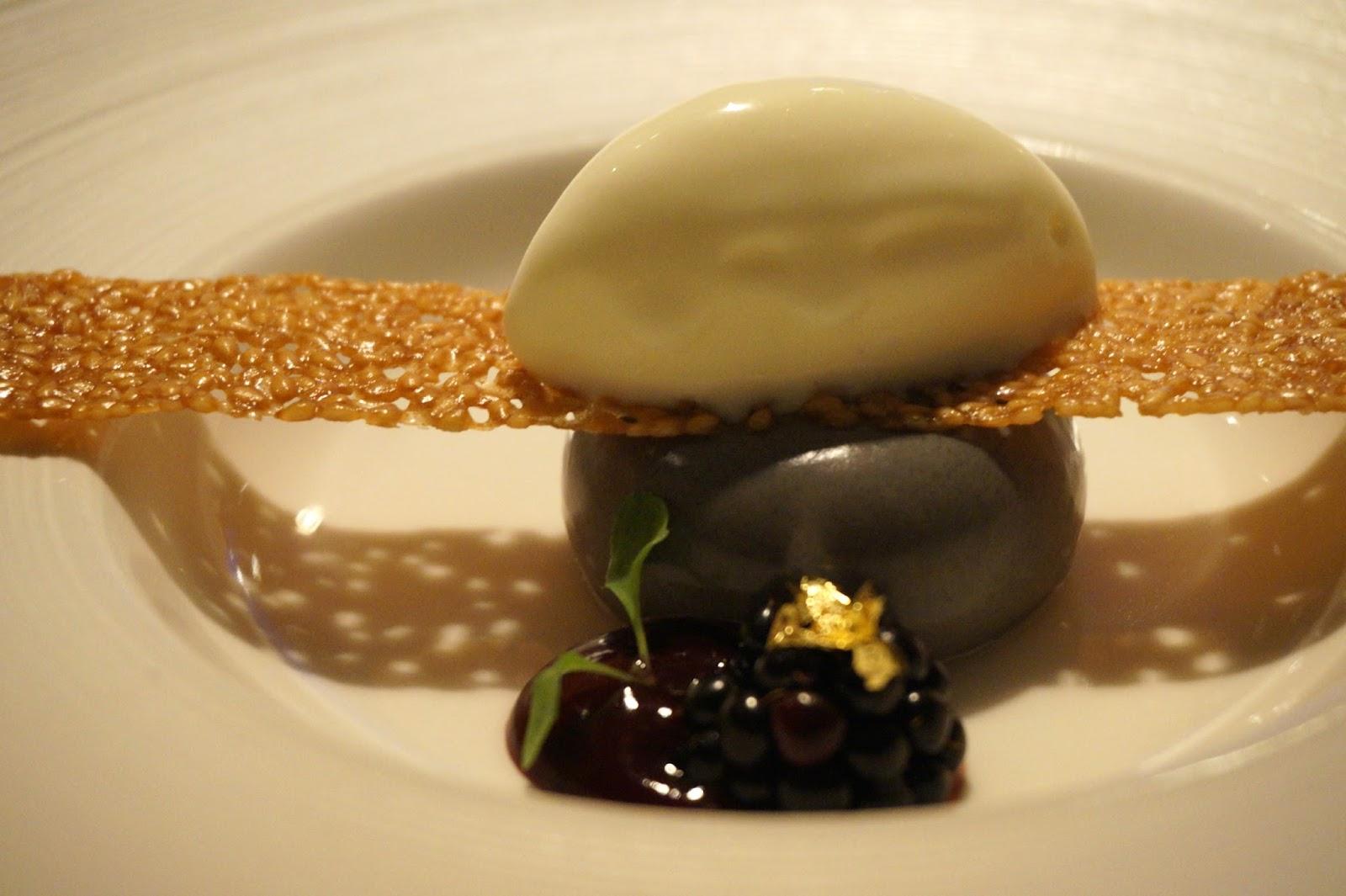 black sesame mousse with fresh blackberry, lemon sorbet