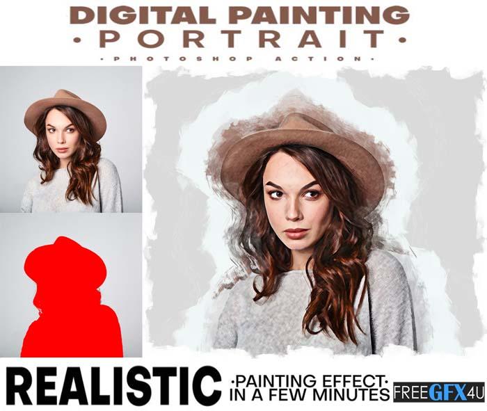 Digital Painting Portrait Photoshop Action