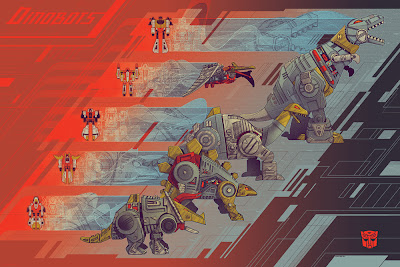 "Wizard World Philadelphia Comic Con 2013 Exclusive Transformers ""Dinobots"" Screen Print by Kevin Tong"