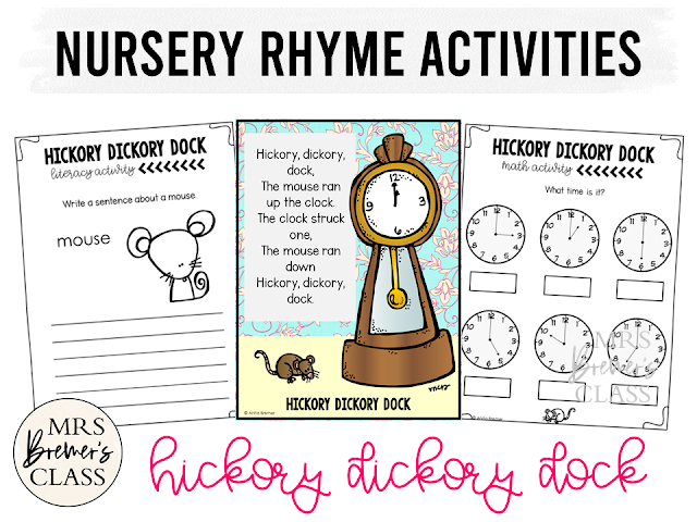 Hickory Dickory Dock activities unit with literacy and math Common Core aligned companion activities for Nursery Rhymes in Kindergarten