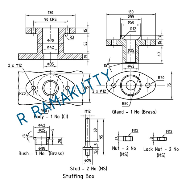 Machine Drawing: Stuffing Box