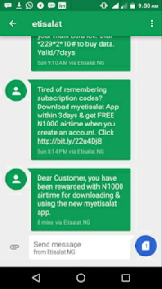 how to get free 1000 airtime from etisalat