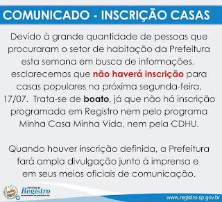 Prefeitura de Registro-SP esclarece Boato sobre novas inscrições de Casas Populares