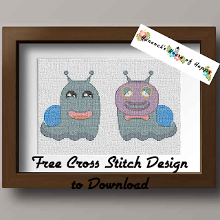cute snail monster cross stitch pattern to download free