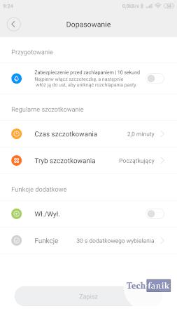 Dopasowanie szoteczki w aplikacji Mi Home