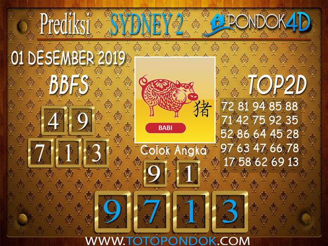 Prediksi Togel SYDNEY 2 PONDOK4D 01 DESEMBER 2019