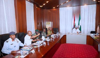 BREAKING: Buhari, IGP, NSA, NIA DG In Closed Door Meeting In Aso Rock
