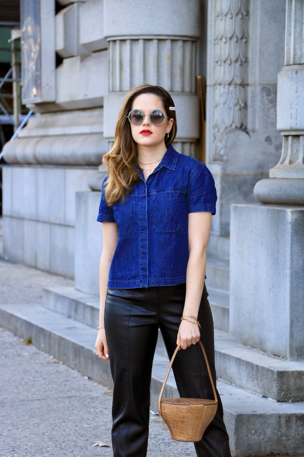 Nyc fashion blogger Kathleen Harper wearing a cropped chambray button-down by Rag and Bone.