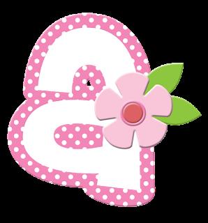 Alfabeto con Flores y Orilla Rosa