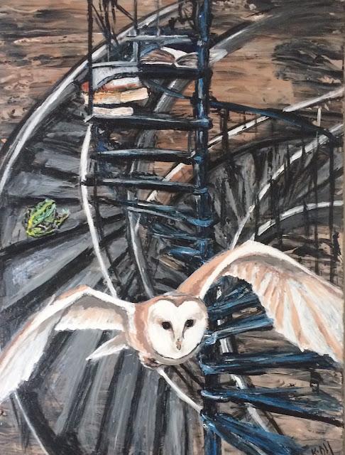 Peinture de Karine Babel chouette, grenouille, livres, escalier