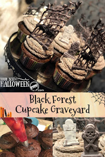halloween baking, black forest cupcake graveyard recipe
