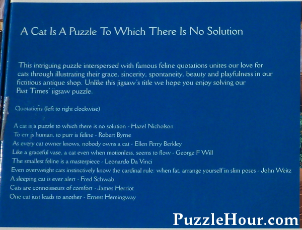 Cat quotes quotations on a cat is a puzzle to which there is no solution past times jigsaw puzzle back of box
