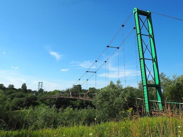 Подвесной вантовый пешеходный мост через Иню - о.п. Паровозный (ближний)