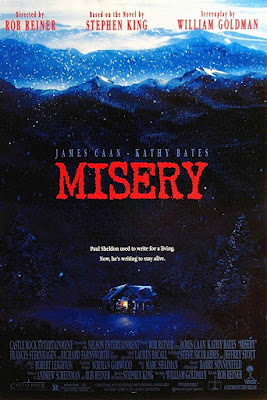 Misery 1990 movie poster, starring James Caan, Kathy Bates, Lauren Bacall, and Richard Farnsworth
