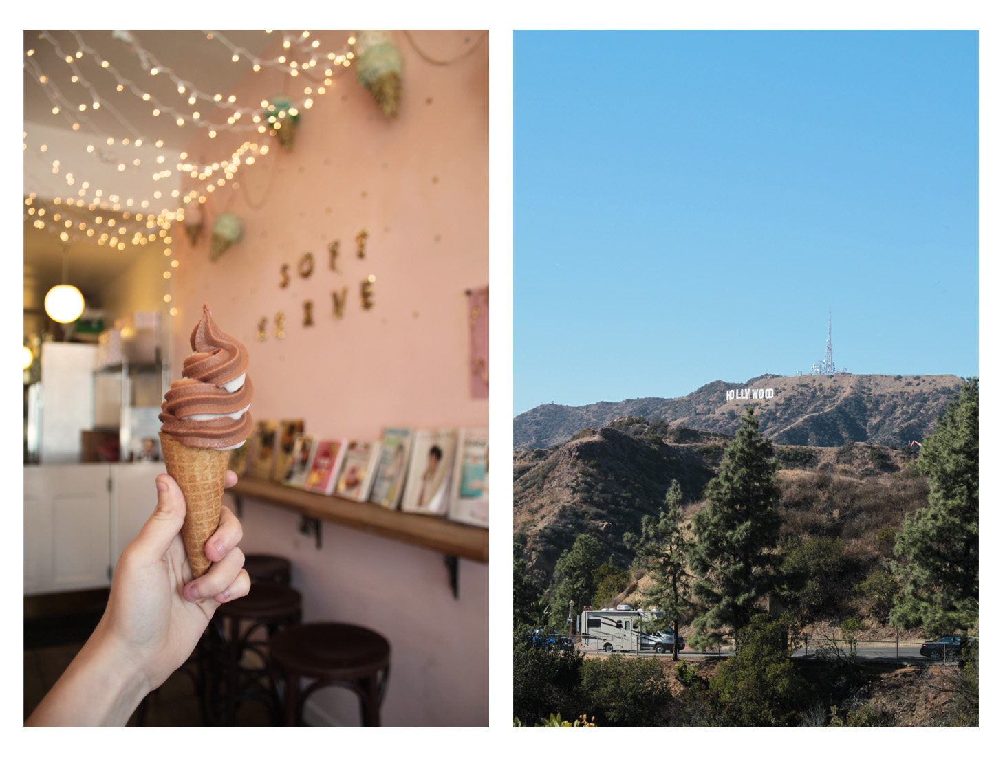Food and Hollywood Sign